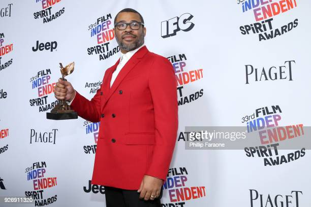 Director Jordan Peele winner of Best Director for 'Get Out' poses in the press room during the 2018 Film Independent Spirit Awards on March 3 2018 in...