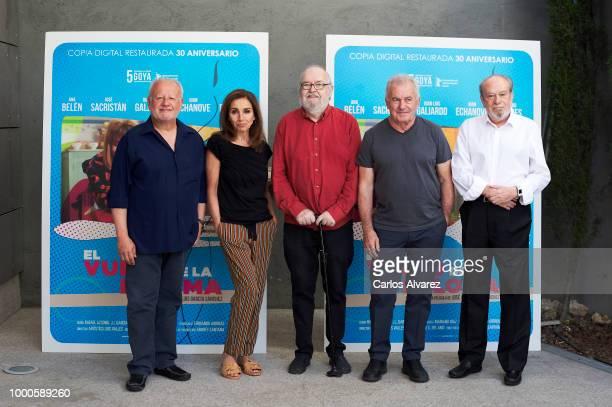 Director Jose Luis Garcia Sanchez and singer Victor Manuel attend 'El Vuelo de La Paloma' 30th anniversary at Academia de Cine on July 17 2018 in...