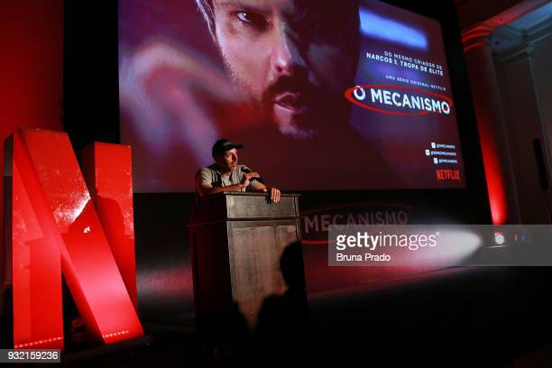 Director Jose Padilha speaks prior to the screening of the Netflix series O Mecanisno at Belmond Copacabana Palace Hotel on March 14 2018 in Rio de...