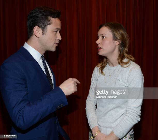 Director Joseph GordonLevitt and actress Brie Larson attend the Green Room Photo Op for Don Jon's Addiction during the 2013 SXSW Music Film...