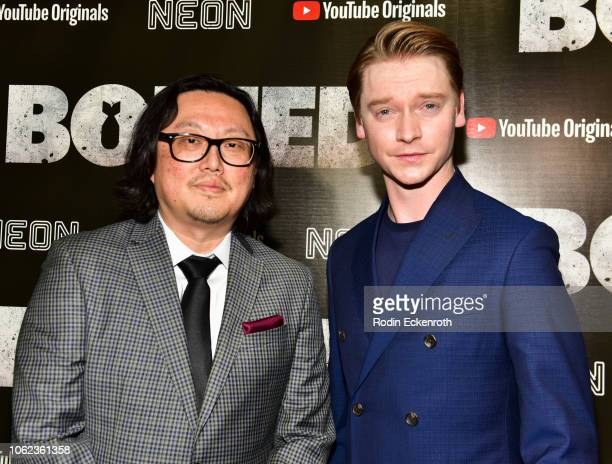 Director Joseph Kahn and actor Calum Worthy attend Los Angeles Premiere of YouTube Premium and Neon's Bodied at TCL Chinese 6 Theatres on November 01...