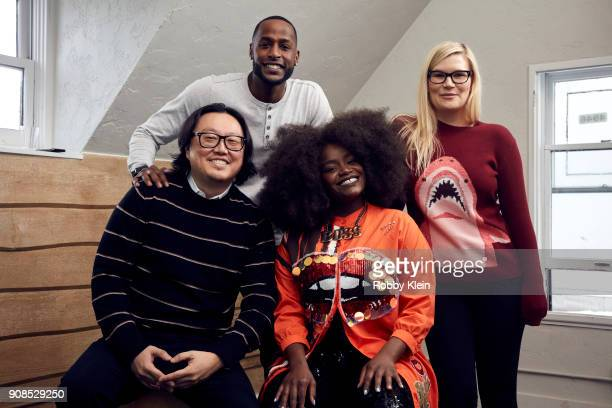 Director Joseph Kahn Jackie Long Shoniqua Shandai and Rory Uphold from the film 'Bodied' pose for a portrait in the YouTube x Getty Images Portrait...