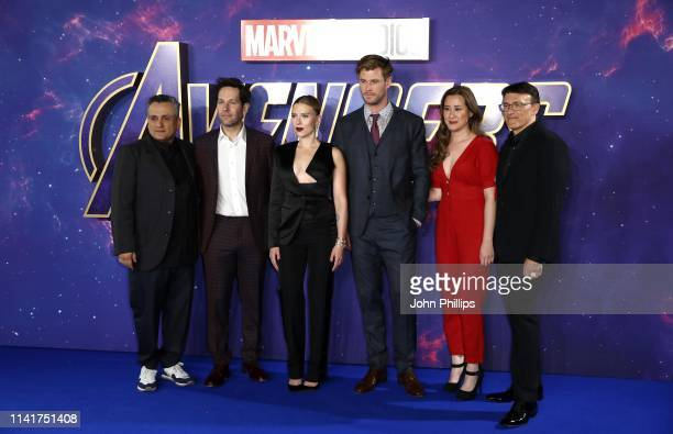 Director Joseph Russo actors Paul Rudd Scarlett Johansson and Chris Hemsworth producer Trinh Tran and director Anthony Russo attend the Avengers...