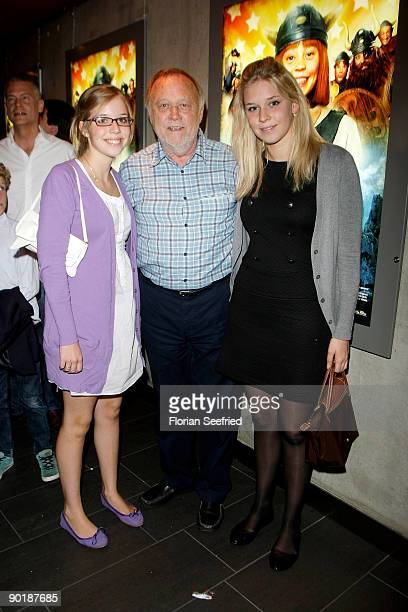 Director Joseph Vilsmaier and his daughters Theresa and Janina attend the premiere of 'Vicky The Viking' at Mathaeser cinema on August 30 2009 in...
