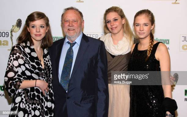 Director Joseph Vilsmaier and his daughters Theresa Janina and Sofia Vilsmaier arrive to the Jupiter Award party on March 27 2009 in Berlin Germany