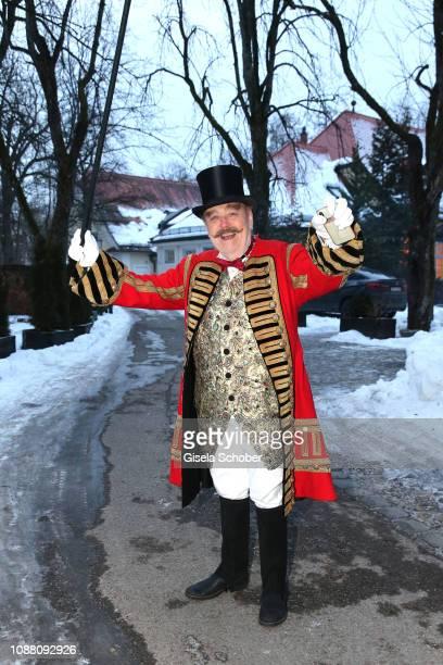Director Joseph Vilsmaier dressed up as a ringmaster before his 80th birthday party Das ganze Leben ist Fasching at Gutshof Menterschwaige on January...