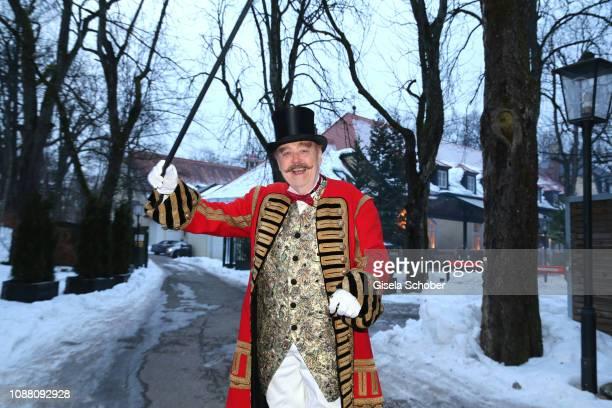 "Director Joseph Vilsmaier dressed up as a ringmaster before his 80th birthday party ""Das ganze Leben ist Fasching"" at Gutshof Menterschwaige on..."