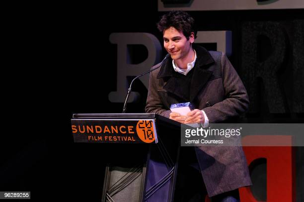 Director Josh Radnor accepts the US Dramatic Competition Audience Award presented by Honda for happythankyoumoreplease onstage at the Awards Night...