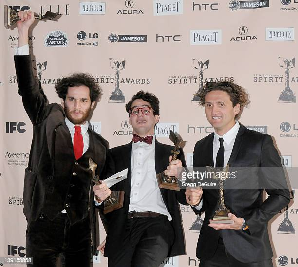 Director Josh Safdie director Benny Safdie and producer Casey Neistat winners of the John Cassavetes award for 'Daddy Longlegs' pose in the press...
