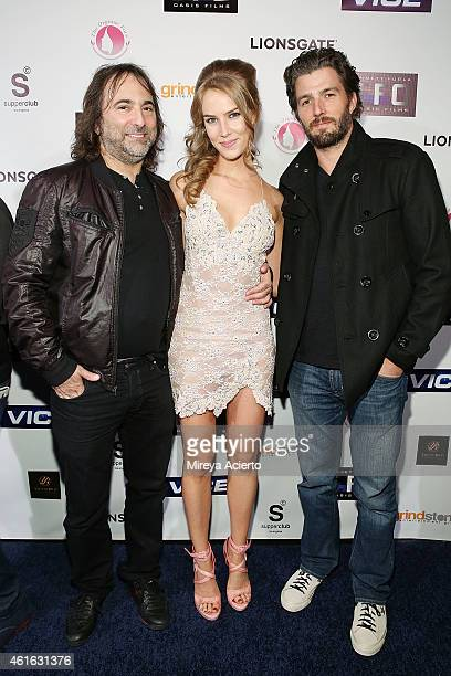 Director Joshua Newton actress Charlotte Kirk and actor Tyler Olson attend Vice Los Angeles Premiere after party on January 15 2015 in Los Angeles...
