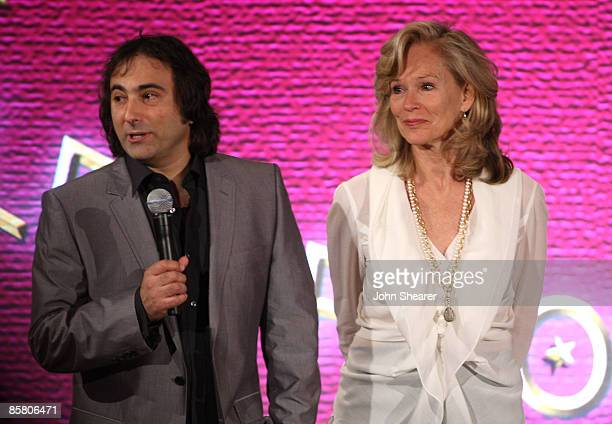 Director Joshua Newton and Brenda Siemer-Scheider speak during Smiles from the Stars: A Tribute to the Life and Work of Roy Scheider at The Beverly...