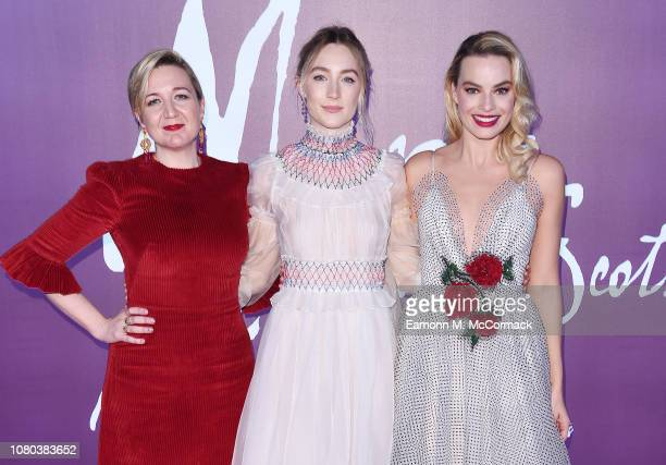 Director Josie Rourke Saorise Ronan and Margot Robbie attend the European Premiere of Mary Queen of Scots at Cineworld Leicester Square on December...