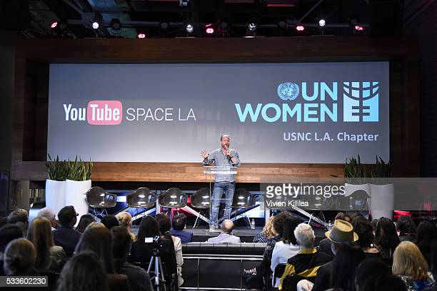 Director Joss Whedon receives an award at the UN Women USNC LA Media Summit in support of #HeForShe at YouTube Space LA at YouTube Space LA on May 21...