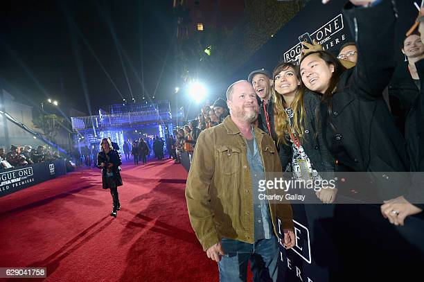 Director Joss Whedon takes a selfie with fans at The World Premiere of Lucasfilm's highly anticipated firstever standalone Star Wars adventure Rogue...