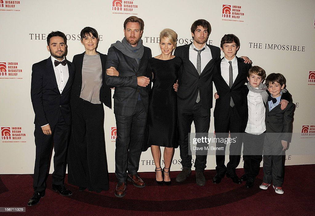 Director Juan Antonio Bayona, Spanish tsunami survivor Maria Belon, Ewan McGregor, Naomi Watts, Lucas Belon, Tom Holland, Samuel Joslin and Oaklee Pendergast attend the UK charity premiere of 'The Impossible' at BFI IMAX on November 19, 2012 in London, England.