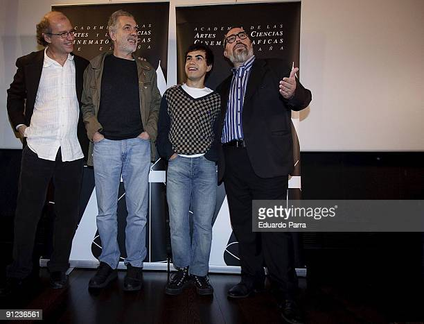 Director Juan Carlos Rulfo director Fernando Trueba actor Abel Ayala and the President of the Spanish Cinema Academy Alex de la iglesia attend the...
