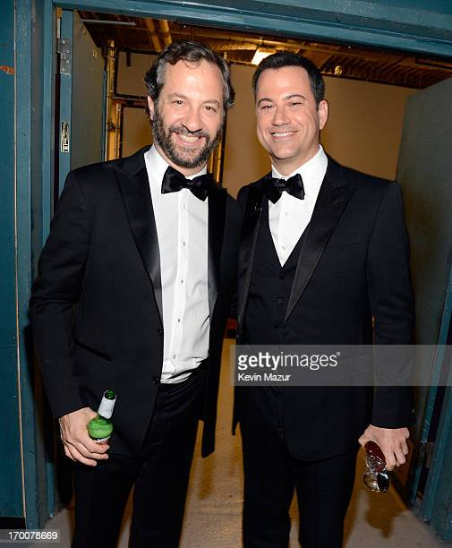 Director Judd Apatow and comedian and TV host Jimmy Kimmel attend AFI's 41st Life Achievement Award Tribute to Mel Brooks at Dolby Theatre on June 6...