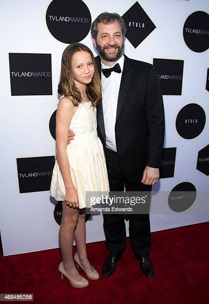 Director Judd Apatow and his daughter actress Iris Apatow arrive at the 2015 TV LAND Awards a the Saban Theatre on April 11 2015 in Beverly Hills...