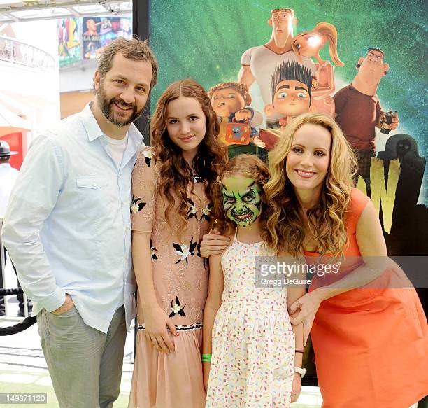 Director Judd Apatow daughter's Maude Apatow and Iris Apatow and actress Leslie Mann arrive at the Los Angeles premiere of ParaNorman at AMC CityWalk...