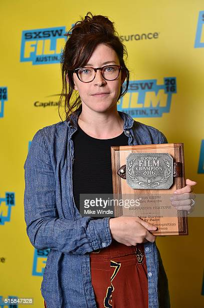 Director Julia Hart accepts the Special Jury Recognition for Best Actress award for Miss Stevens on behalf of actress Lily Rabe during the SXSW Film...