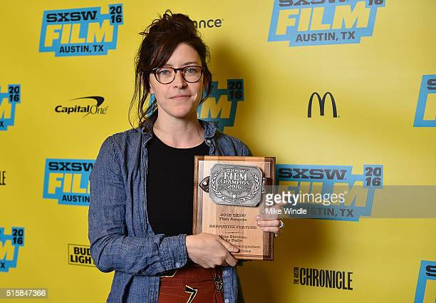 Director Julia Hart accepts the Special Jury Recognition for Best Actress award for 'Miss Stevens' on behalf of actress Lily Rabe during the SXSW...