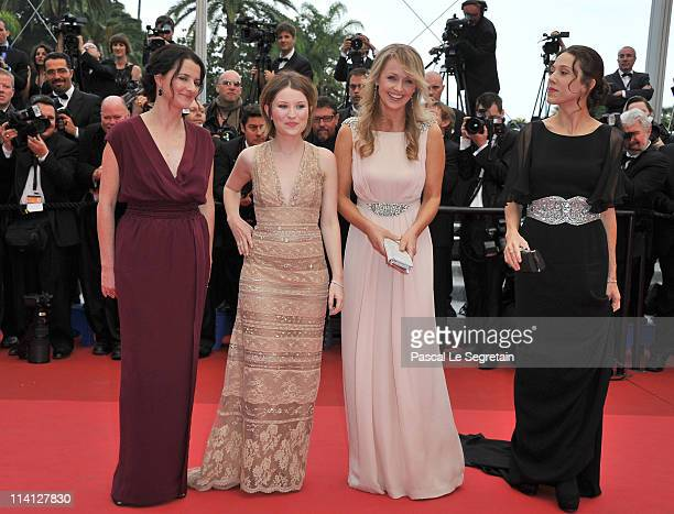 Director Julia Leigh actress Emily Browning Rachael Blake and producer Jessica Brentnall arrive at the 'Sleeping Beauty' premiere during the 64th...