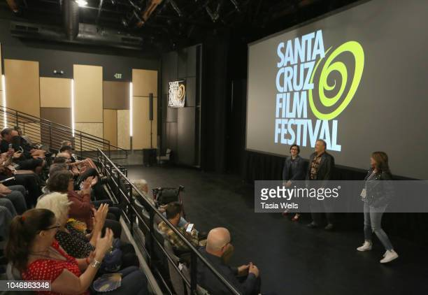 Director Julia Nash musician Jello Biafra and Santa Cruz Film Festival board member Angela Chesnut speak onstage at the premiere of 'Industrial...