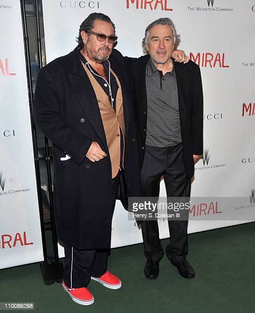 Director Julian Schnabel and actor Robert De Niro attend the premiere of Miral at the United Nations General Assembly Hall on March 14 2011 in New...