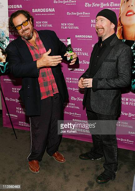 """Director Julian Schnabel and U2 guitarist The Edge arrive at the """"The Diving Bell and The Butterfly"""" screening during the 45th New York Film Festival..."""