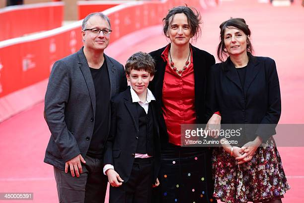Director Julie Bertuccelli and son with producers attend the 'La Cour De Babel' Premiere during The 8th Rome Film Festival at Auditorium Parco Della...