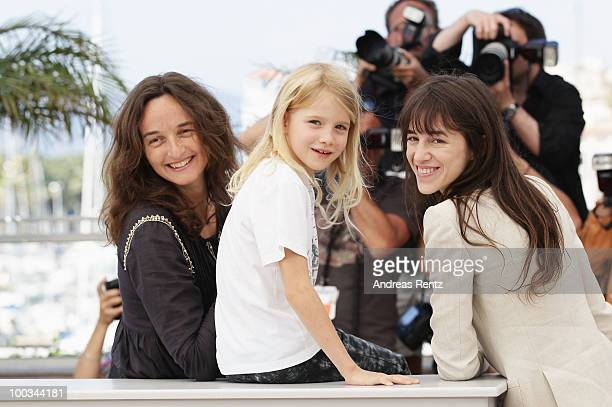 Director Julie Bertucelli actress Morgana Davies and actress/musician Charlotte Gainsbourg attend 'The Tree' Photo Call held at the Palais des...
