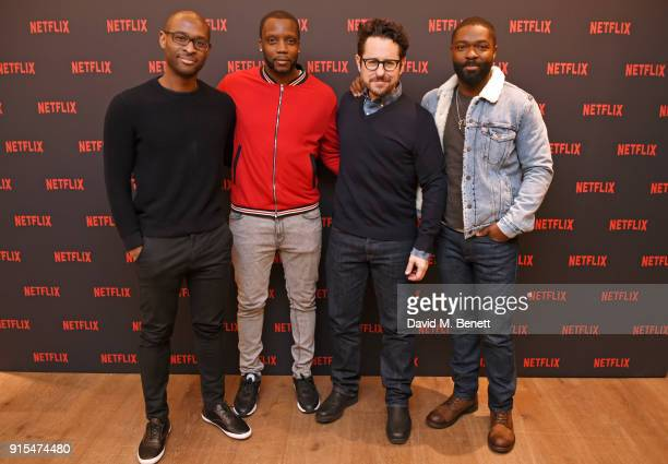 Director Julius Onah actor Roger Davies producer JJ Abrams and actor David Oyelowo attend a fan screening of The Cloverfield Paradox hosted by...