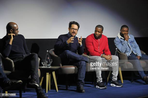Director Julius Onah producer JJ Abrams actors Roger Davies and David Oyelowo speak on stage at a fan screening of The Cloverfield Paradox hosted by...