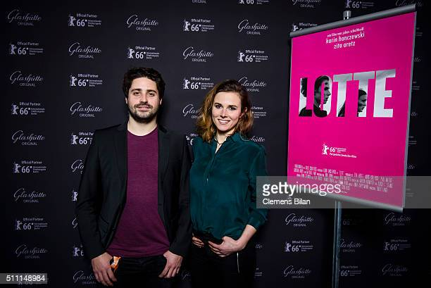 Director Julius Schultheiss and actress Karin Hanczewski attend the WarmUp Perspektive Deutsches Kino' at the Glashuette Original Lounge on February...