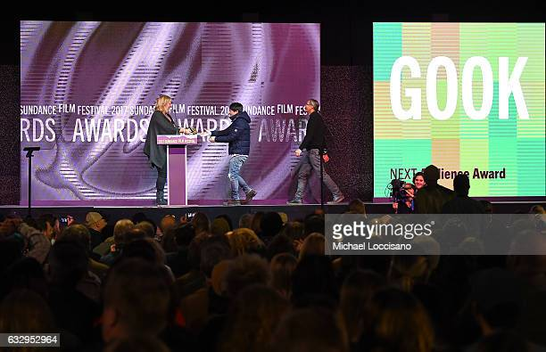 Director Justin Chon accepts the NEXT award from actress Bridget Everett for the film Gook during the 2017 Sundance Film Festival Awards Night...