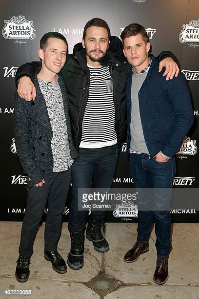 Director Justin Kelly and actors James Franco and Charlie Carver attend the Variety dinner celebrating James Franco and 'I Am Michael' at the Stella...