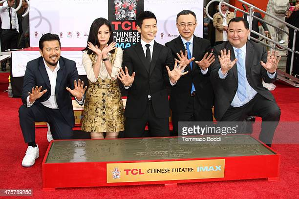 Director Justin Lin actors Zhao Wei Huang Xiaoming Enlight Media CEO Wang Changtian and Chairman at Seven Stars Entertainment Bruno Wu are honored...