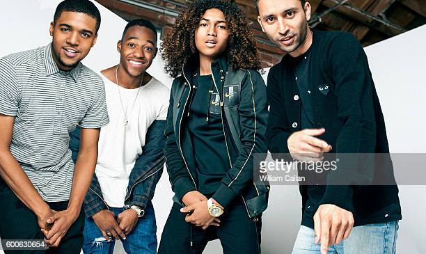 Director Justin Tipping and stars Jahking Guillory Christopher Jordan Wallace and Christopher Meyer 'Kicks' are photographed for The Wrap on August...
