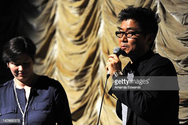 Director Kang Jegyu and translator Angela Killoren participate in a QA session following a Film Independent At LACMA screening of 'My Way' at Bing...