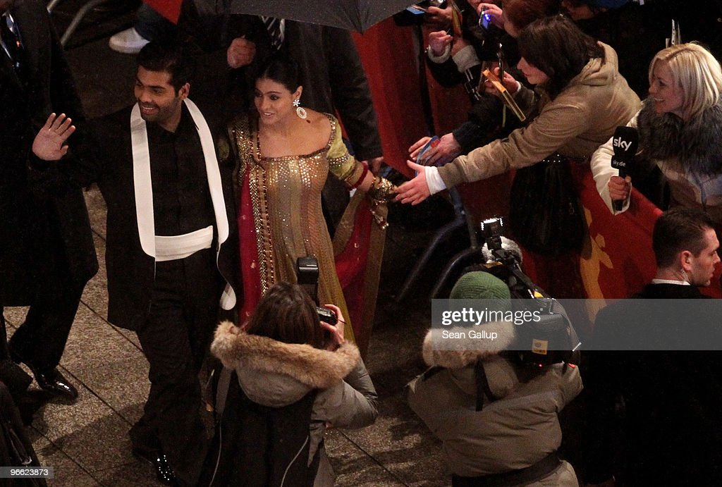 Director Karan Johar and actress Kajol Devgan attend the premiere of `My Name Is Khan` at the 60th Berlinale Film Fesival at Berlinale Palace on...