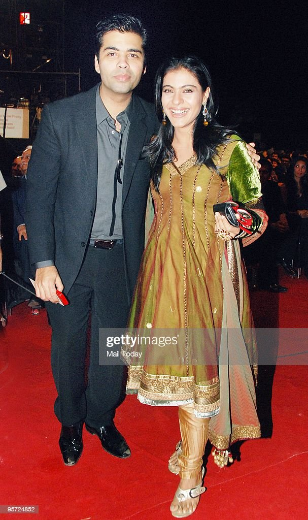 Director Karan Johar and Kajol at the Apsara awards ceremony in Mumbai on Friday January 8 2010