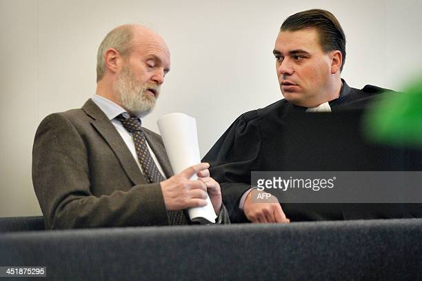 BBIISI director Karel Anthonissen speaks with his Lawyer Bruno Cardoen before the trial of EU Commissioner Karel De Gucht accused of tax fraud on...