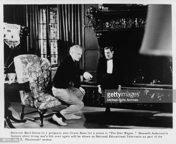 Director Karl Genus directs Orson Bean in the TV movie The Star Wagon by the National Education Television Playhouse series Circa 1966