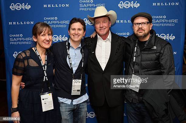 Director Kat Candler producer Jonathan Duffy actor Walt Roberts and producer David Hansen arrive at the 'Hellion' premiere party at Chase Sapphire on...