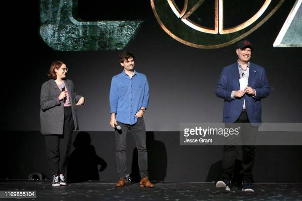 Director Kate Herron and Writer Michael Waldron of 'Loki' and President of Marvel Studios Kevin Feige took part today in the Disney+ Showcase at...