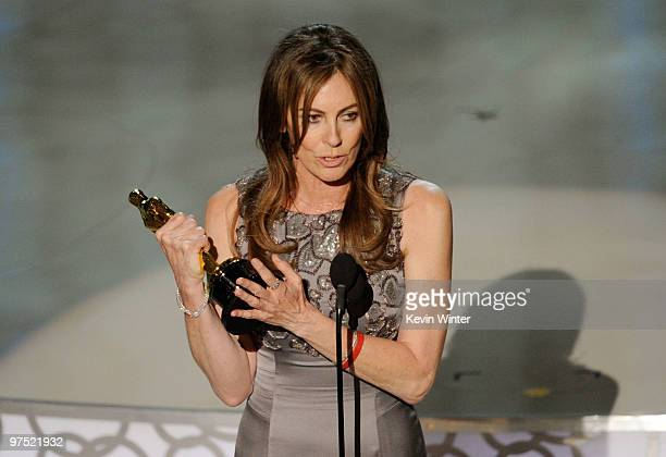 Director Kathryn Bigelow accepts Best Director award for The Hurt Locker onstage during the 82nd Annual Academy Awards held at Kodak Theatre on March...