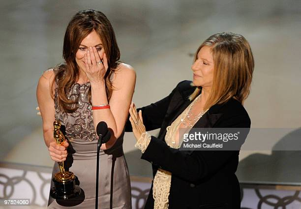 Director Kathryn Bigelow and presenter Barbara Streisand onstage during the 82nd Annual Academy Awards held at Kodak Theatre on March 7 2010 in...