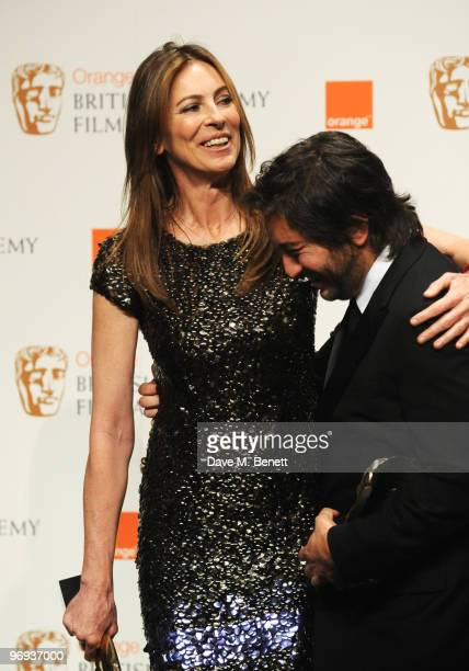 Director Kathryn Bigelow and producer Greg Shapiro with their awards for Best Film for 'The Hurt Locker' during the The Orange British Academy Film...