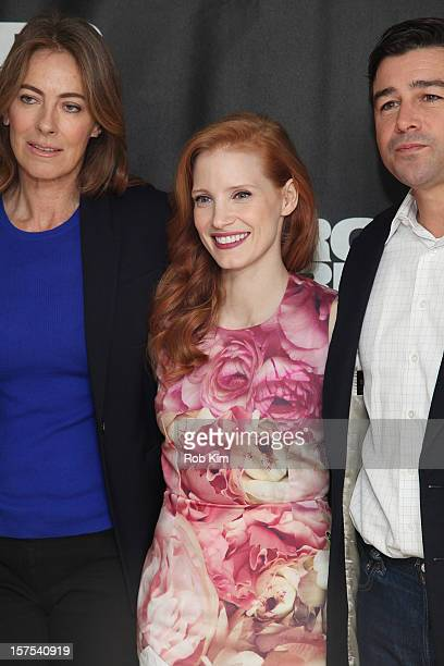 Director Kathryn Bigelow Jessica Chastain and Kyle Chandler attend the Zero Dark Thirty photocall at the Ritz Carlton Hotel on December 4 2012 in New...
