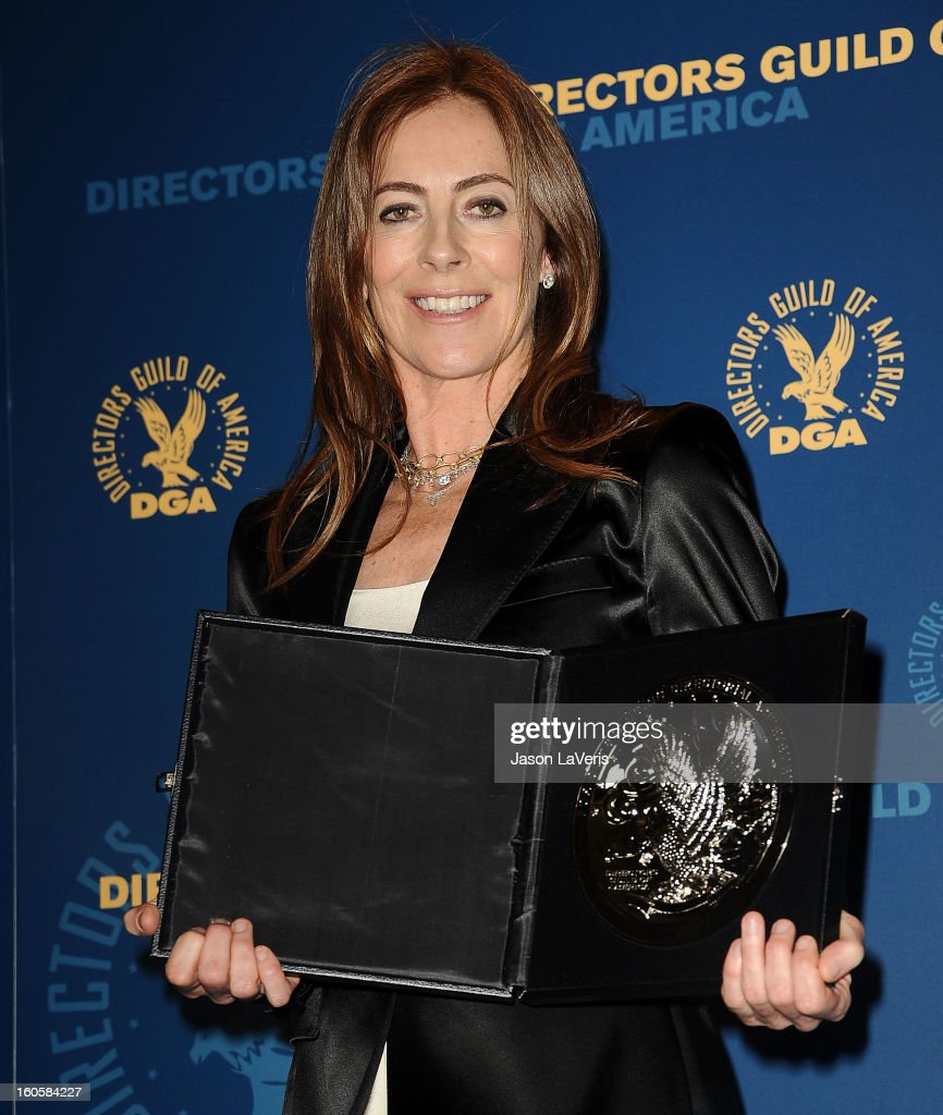 Director Kathryn Bigelow poses in the press room at the 65th annual Directors Guild Of America Awards at The Ray Dolby Ballroom at Hollywood & Highland Center on February 2, 2013 in Hollywood, California.